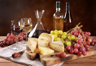 Carta da parati Vino, uva e formaggio