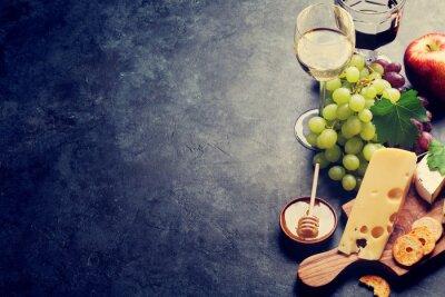 Carta da parati Vino, uva, formaggio e miele