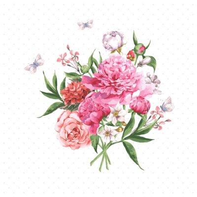 Carta da parati Vintage Acquerelli cartolina con fiori che sbocciano e