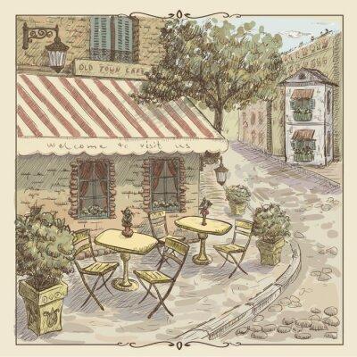 Carta da parati Vintage acquerello illustrazione di caffè della via del centro storico
