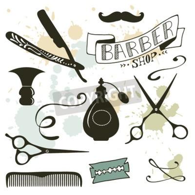 Carta da parati Vintage barbiere insieme di oggetti. illustrazione di vettore