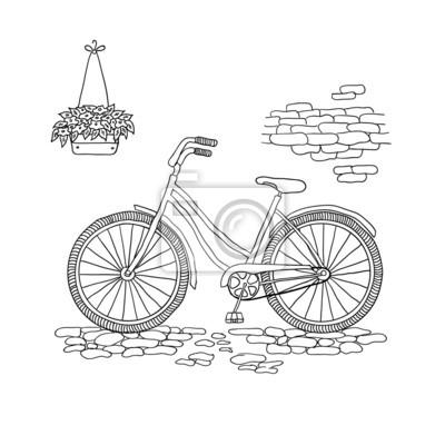 Carta Da Parati Vintage Bicicletta Illustrazione Vettoriale