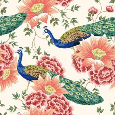 Carta da parati Vintage Chinese flower lotus rose, leaves, peacock bird seamless border pink background. Exotic oriental wallpaper.