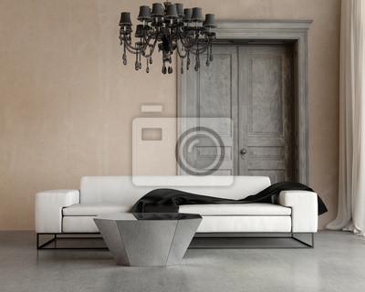 Carta Da Parati Classica Soggiorno : Vintage classico elegante soggiorno con divano e lampadario carta