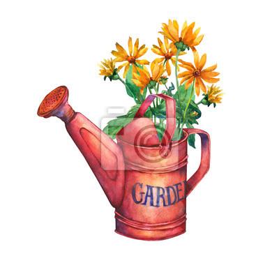 Fiori Gialli Mazzo.Vintage Irrigazione Giardino Rosso Puo Con Un Mazzo Di Fiori Carta