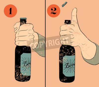 Carta da parati Vintage manifesto birra stile grunge. istruzioni manifesto umoristico per l'apertura del una bottiglia di birra. Stretta della mano una bottiglia di birra. Illustrazione vettoriale.