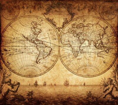 Carta da parati Vintage mappa del mondo 1733