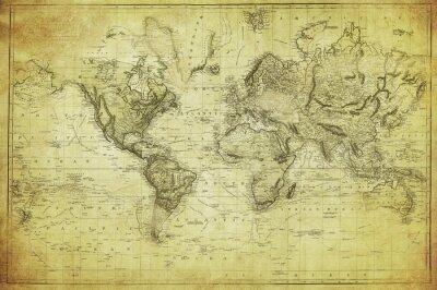 Carta da parati Vintage mappa del mondo nel 1831