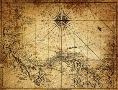 Carta da parati Vintage mappa di Panama