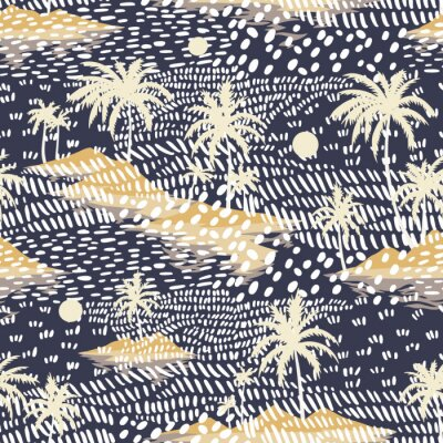 Carta da parati Vintage seamless island pattern. Colorful summer tropical background. Yellow landscape with palm trees, beach and ocean. Flat design, vector. Good for textile, fabric, t-shirt, wallpaper, wrapping.