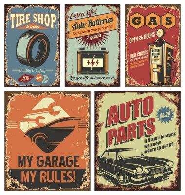 Carta da parati Vintage servizio auto di latta segni e manifesti