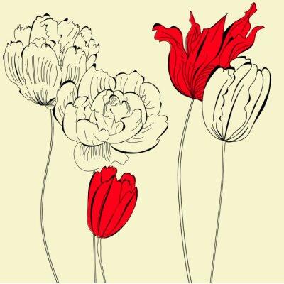 Vintage Sfondo Con Fiori Carta Da Parati Carte Da Parati Tulipano