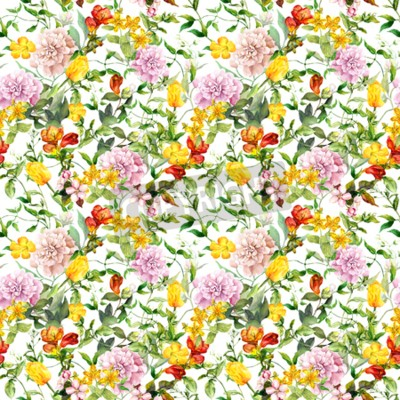 Carta da parati Vintage summer flowers, leaves, herbs. Repeating floral background. Watercolor