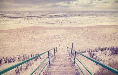 Carta da parati Vintage tonica scale di legno su una spiaggia