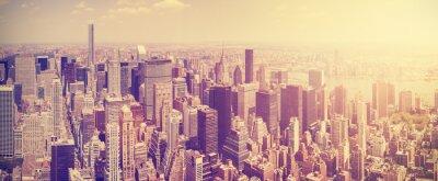 Carta da parati Vintage tonica Skyline di Manhattan al tramonto, New York, Stati Uniti d'America.