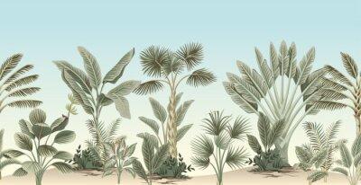 Carta da parati Vintage tropical palm tree, banana tree, plant floral border blue background. Exotic jungle wallpaper.
