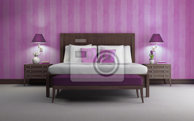 Camere Da Letto Viola : Viola camera da letto di lusso chic 3d rendering viola vista carta