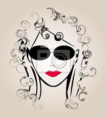 Viso Di Donna Stilizzato Carta Da Parati Carte Da Parati Parrucchiere Oculista Parrucchiere Myloview It