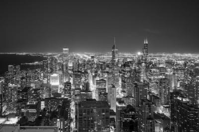 Carta da parati Vista aerea dell'orizzonte del centro di Chicago al tramonto dall'alto.