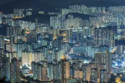 Carta da parati Vista aerea della città di Hong Kong