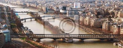 Carta da parati Vista dal ponte Eiffel tower Bir-Hakein e isolotto sul ri