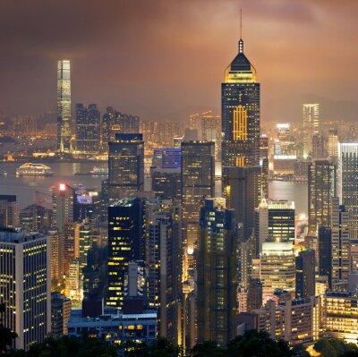 Carta da parati Vista di notte di Hong Kong e Kowloon