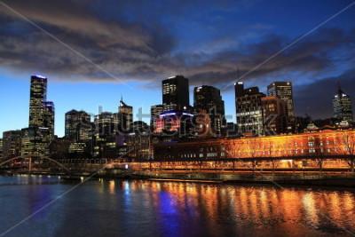 Carta da parati Vista di notte di Melbourne in Australia
