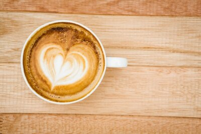 Carta da parati Vista di un cuore composto da caffè