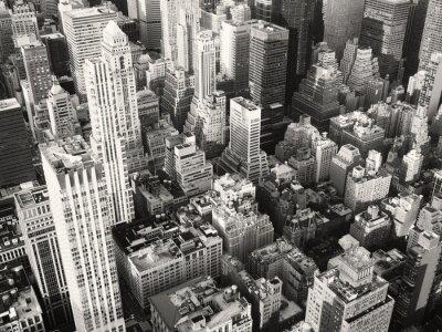 Carta da parati vista in bianco e nero di centro di New York City