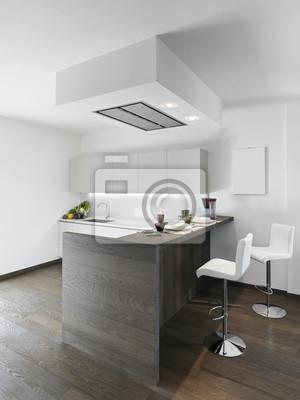 Vista interiore di cucina moderna con pavimento in legno carta da ...