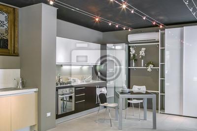 Vista interiore di cucina moderna con tavolo da pranzo carta da ...