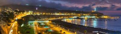 Carta da parati Vista panoramica HDR della baia Chorrollos a Lima, Perù.