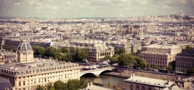 Carta da parati Vista su Parigi formare cattedrale di Notre Dame. immagine in stile Instagram filtrato