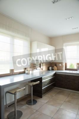 Vista verticale di cucina moderna con pavimento in marmo carta da ...