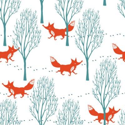 Carta da parati Volpi rosse in una foresta invernale sfondo
