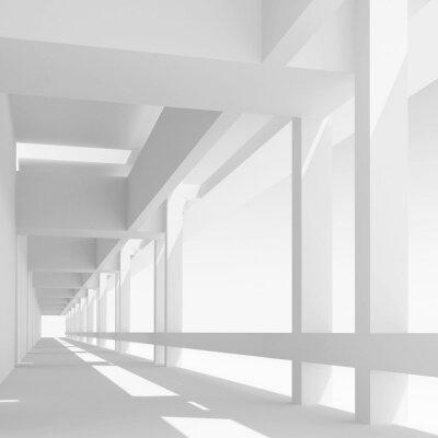 Carta da parati Vuoto prospettiva corridoio bianco, illustrazione 3d