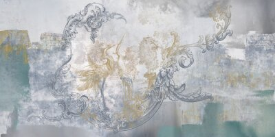 Carta da parati Wall mural, wallpaper, in the style of classic, baroque, modern, rococo. Wall mural with birds and concrete grunge background. Light, delicate photo wallpaper design.
