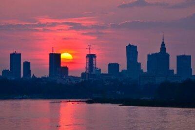 Carta da parati Warsaw Downtown sunset