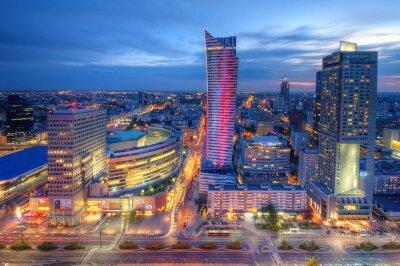 Carta da parati Warszawa wieczorna panorama miasta