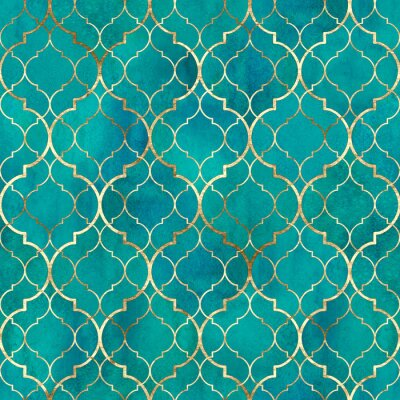 Carta da parati Watercolor abstract geometric seamless pattern. Arab tiles. Kaleidoscope effect. Watercolour vintage mosaic texture