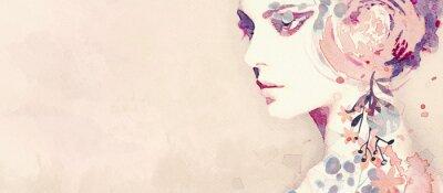Carta da parati Watercolor abstract portrait of girl. Fashion background.