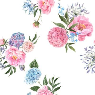 Carta da parati Watercolor floral bouquet seamless vector pattern