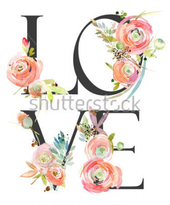 Carta da parati watercolor flower background. love