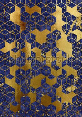 Carta da parati Watercolor marble background with geometric cube pattern.