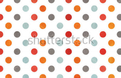 Carta da parati Watercolor orange, blue, red and grey polka dot background. Texture with colorful polka dots for scrapbooks, wedding, party or baby shower invitations.