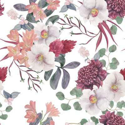 Carta da parati Watercolor painting seamless pattern with exotic flower and tropical leaves