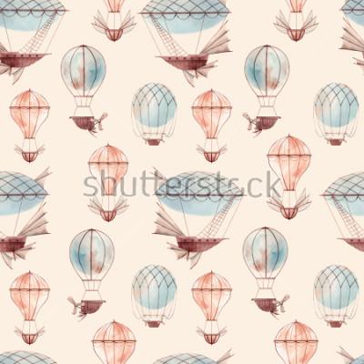 Carta da parati Watercolor pattern retro balloon, flying ship, baby wallpaper. retro wallpaper