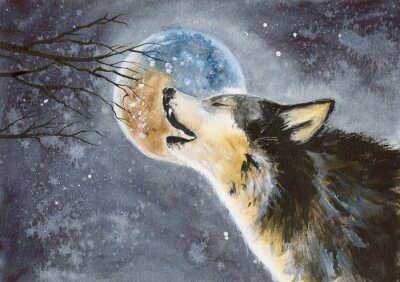 Carta da parati  Watercolor picture of a wolf with a moon on the background, snow and tree