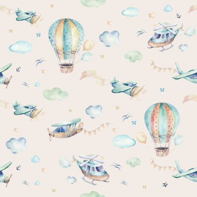 Carta da parati Watercolor set background illustration of a cute cartoon and fancy sky scene complete with airplanes, helicopters, plane and balloons, clouds. Boy seamless pattern. It's a baby shower design