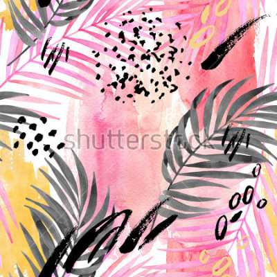 Carta da parati Watercolor tropical leaves seamless pattern. Watercolour pink colored and graphic palm leaf painting with minimal elements on color stains background. Hand painted art illustration for summer design.